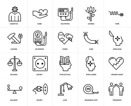 Set Of 20 icons such as Friendship, Measuring tape, Lamp, Socket, Balance, Wire, Intellectual, Voltmeter, web UI editable icon pack, pixel perfect