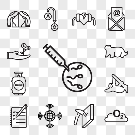 Satz von 13 transparenten bearbeitbaren Symbolen wie ivf, o2, unzerbrechlich, fahl, Logbuch, Faultier, Propantank, Murmeltier, kostengünstig, Web-UI-Symbolpaket, Transparenzsatz
