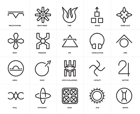 Set Of 20 icons such as Gemini, Sun, Year, Hypocrisy, Still, Good luck, Coagulation, Lifes challenges, Libra, Freedom, Fire, web UI editable icon pack, pixel perfect