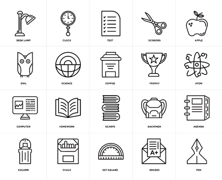 Set Of 20 icons such as Pen, Grades, square, Chalk, Column, Apple, Trophy, Scarfs, Computer, Science, Test, web UI editable icon pack, pixel perfect Ilustração