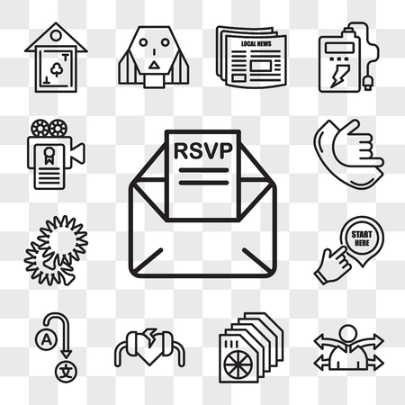 Set Of 13 transparent editable icons such as rsvp, versatility, heat sink, defibrillator, change language, start here, pom pom, call me, screenplay, web ui icon pack, transparency set Vector Illustration