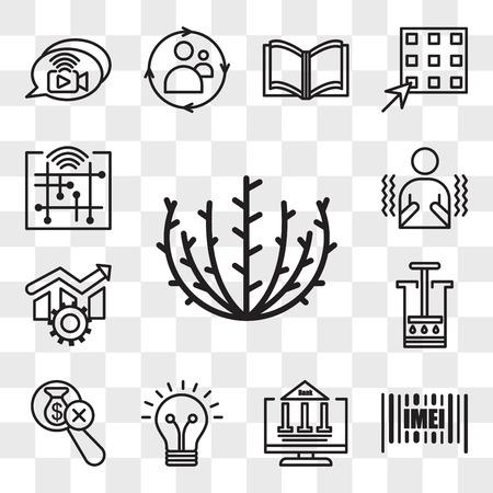 Set Of 13 transparent icons such as tumbleweed, imei, netbanking, smarter, no hidden fees, aeropress, operational excellence, shivering, web ui editable icon pack, transparency set Vektoros illusztráció