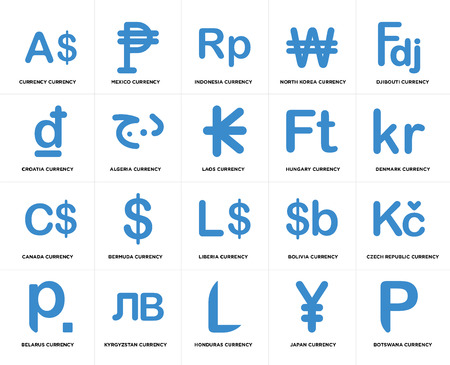 Set Of 20 simple editable icons such as Denmark currency, Honduras Kyrgyzstan Croatia Laos web UI icon pack, pixel perfect Illustration
