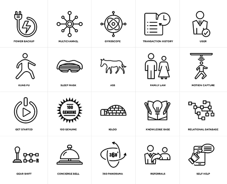 Set Of 20 simple editable icons such as self help, motion capture, user, transaction history, gear shift, multichannel, knowledge base, kung fu, web UI icon pack, pixel perfect