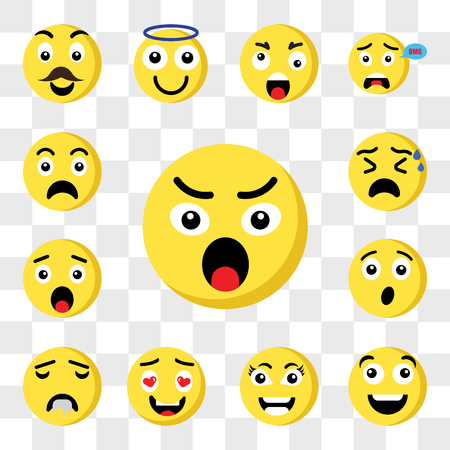 Set Of 13 transparent icons such as Angry emoji, Happy Smart In love Drool Surprised Nervous web ui editable icon pack, transparency set Illustration
