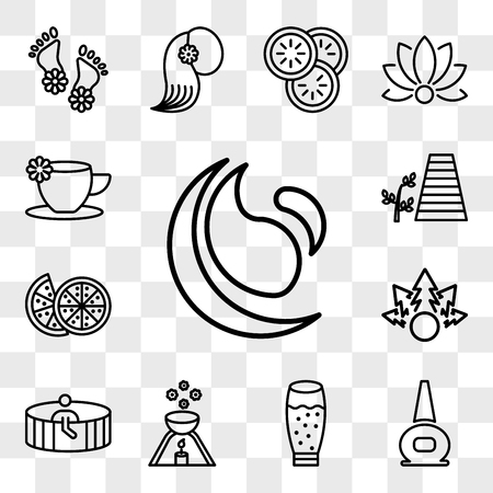 Set Of 13 transparent icons such as spa and fitness, nail polish bottle, glass with juice, scented candle, Person in sauna, Plant for a spa, web ui editable icon pack, transparency Illustration