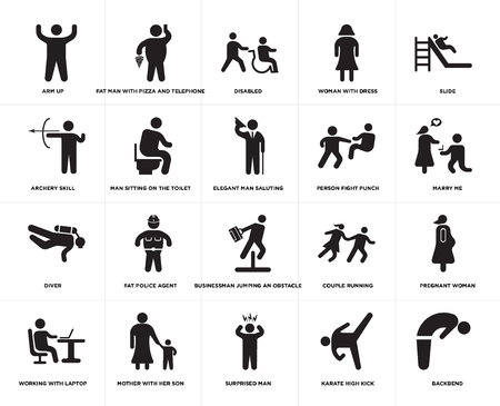 Conjunto de 20 iconos editables sencillos como Cásate conmigo, hombre sorprendido, madre con su hijo, habilidad de tiro con arco, hombre elegante saludando, paquete de iconos de la interfaz de usuario web, pixel perfect Ilustración de vector