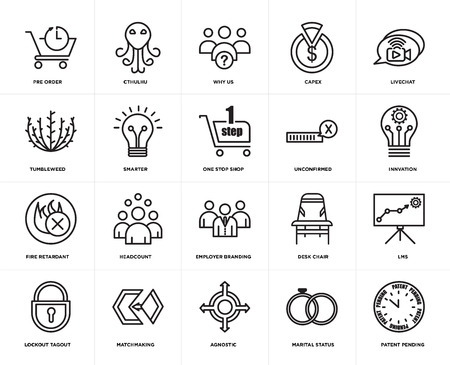 Set Of 20 simple editable icons such as patent pending, innvation, livechat, capex, lockout tagout, cthulhu, Desk chair, tumbleweed, web UI icon pack, pixel perfect 일러스트