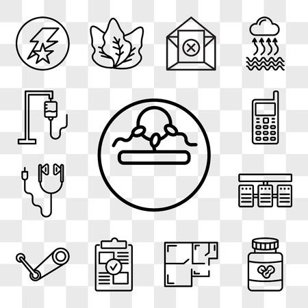 Set van 13 transparante bewerkbare pictogrammen zoals onvruchtbaarheid, pindakaas, plattegrond, proof of concept, stoom, serverstack, oordopjes, gsm, iv-tas, web ui icon pack, transparantieset