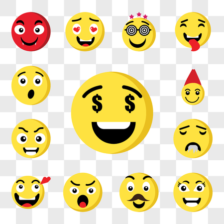 Set Of 13 transparent icons such as Greed emoji, Smart Father Angry In love Drool Santa claus web ui editable icon pack, transparency set