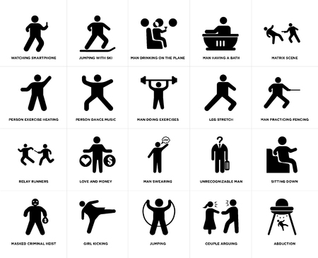 Set Of 20 simple editable icons such as Jumping with ski, Couple Arguing, Matrix Scene, Girl kicking, Masked Criminal Heist, Sitting Down, Person dance music, web UI icon pack, pixel perfect