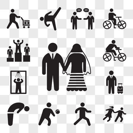 Set Of 13 transparent icons such as Marriage couple, Couple Running, Running person, Person Playing volleyball, Backbend, Traveler with a suitcase, Shower, web ui editable icon pack, transparency set Illustration