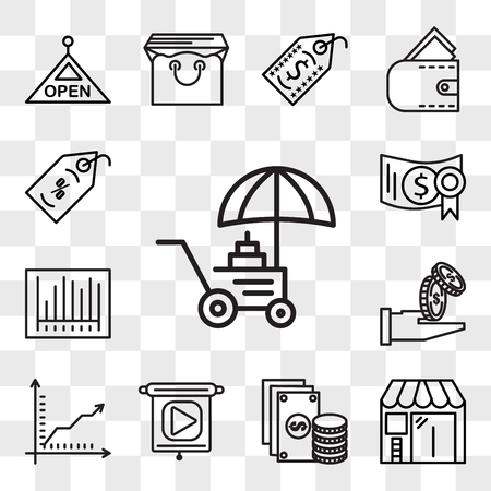 Set Of 13 transparent editable icons such as Coin, Barbershop, Change, Presentation, Graph, Get money, Barcode, Investment, Price tag, web ui icon pack, transparency set