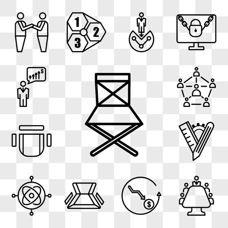 Set Of 13 transparent editable icons such as folding chair, mediation, cheaper, gyroscope, tailor made, chair top view, sociology, anticipation, web ui icon pack, transparency set