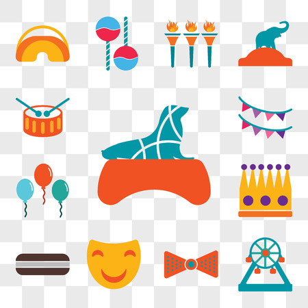 Set Of 13 transparent editable icons such as Seal, Ferris wheel, Bow tie, Mask, Moon pie, Crown, Balloons, Garlands, Drum, web ui icon pack, transparency set