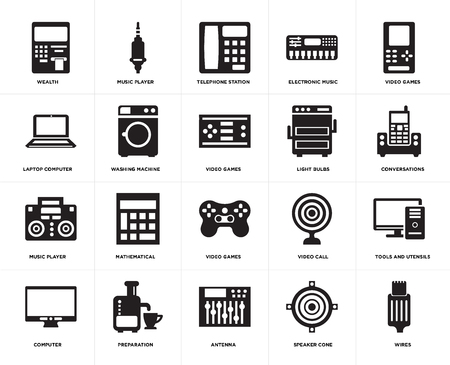 Set Of 20 simple editable icons such as Wires, Conversations, Video games, Electronic music, Computer, Music player, call, Laptop computer, web UI icon pack, pixel perfect