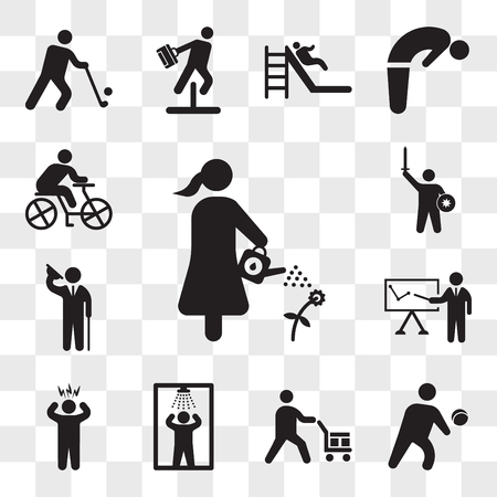 Set Of 13 transparent icons such as Man watering a plant, Person Playing volleyball, Worker loading boxes, Shower, Surprised Man, Business presentation, web ui editable icon pack, transparency