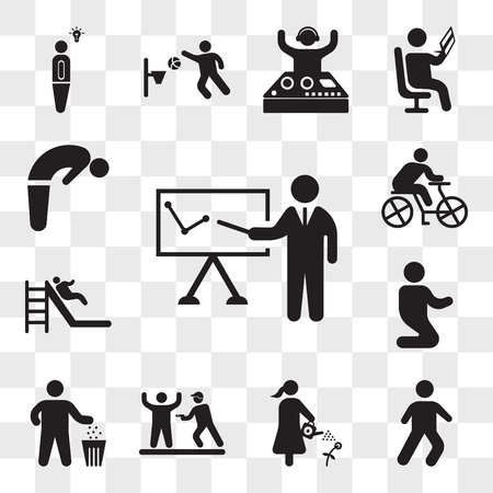 Set Of 13 transparent icons such as Business presentation, Relaxing Walk, Man watering a plant, Police Arrest, and trash container, web ui editable icon pack, transparency