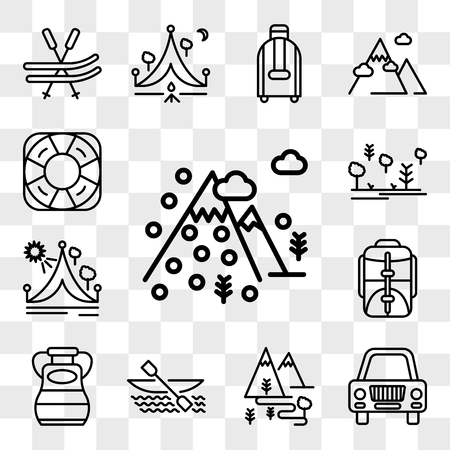 Set Of 13 transparent editable icons such as Mountain, Car, Hiking, Kayak, Flask, Backpack, Travel, Forest, Life saver, web ui icon pack, transparency set Illustration