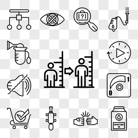 Set Of 13 transparent icons such as body mass index, expiry date, rock paper scissors, platypus, bought, dimmer, noise uction, downtime, web ui editable icon pack, transparency set