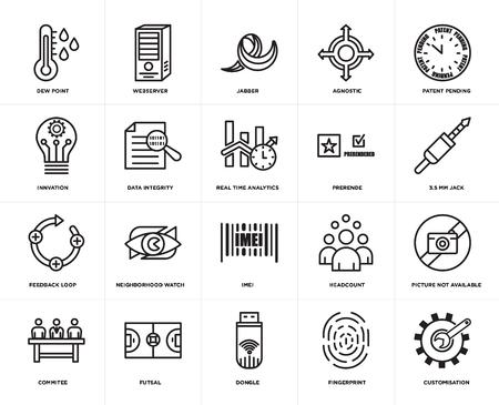 Satz von 20 Symbolen wie Anpassung, Fingerabdruck, Dongle, Futsal, Komitee, Patent angemeldet, Prerende, Imei, Rückkopplungsschleife, Datenintegrität, Jabber, bearbeitbares Symbol für die Web-Benutzeroberfläche, Pixel perfekt
