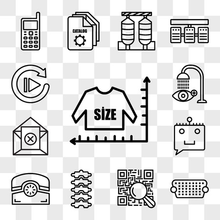 Set Of 13 transparent editable icons such as size chart, vga, qr scanner, chiropractor, phone, chat bot, unsubscribe, eye wash, replay, web ui icon pack, transparency set