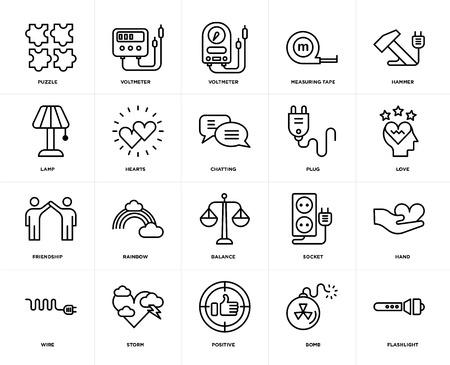 Satz von 20 Symbolen wie Taschenlampe, Bombe, Positiv, Sturm, Draht, Hammer, Stecker, Balance, Freundschaft, Herzen, Voltmeter, bearbeitbares Symbolpaket für die Web-UI, Pixel perfekt Vektorgrafik