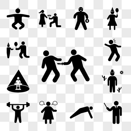 Set Of 13 transparent icons such as Stab Wounds, Elegant director, Man doing push ups, Angry woman, exercises, Cowboy on desert, Abducted Man, web ui editable icon pack, transparency set