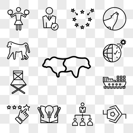 Set Of 13 transparent editable icons such as bull bear, synapse, delegation, knowledge base, rate us, barge, folding chair, daylight savings, baboon, web ui icon pack, transparency set