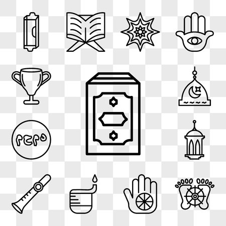 Set Of 13 transparent editable icons such as Holy Quran, Feet, Karma, Dipa, Shehnai, Islamic Lantern, Muhammad Word, Medina, Laver of Washing, web ui icon pack, transparency set