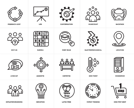 Set Of 20 simple editable icons such as one stop shop, location, Backpack, headcount, employer branding, lms, dew point, why us, web UI icon pack, pixel perfect