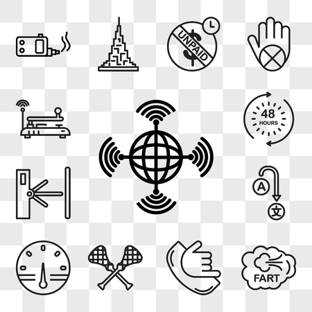 Set Of 13 transparent editable icons such as wan, fart, call me, lacrosse, smart meter, change language, turnstile, 48 hours, telegraph, web ui icon pack, transparency set