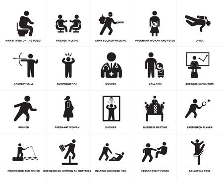 Conjunto de 20 iconos editables sencillos como la exposición de negocios, ayudar al hombre herido, empresario saltando un obstáculo, habilidad de tiro con arco, médico, paquete de iconos de la interfaz de usuario web, píxel perfecto