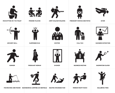 Set Of 20 simple editable icons such as Business exposition, Helping wounded man, Businessman jumping an obstacle, Archery skill, Doctor, web UI icon pack, pixel perfect Çizim
