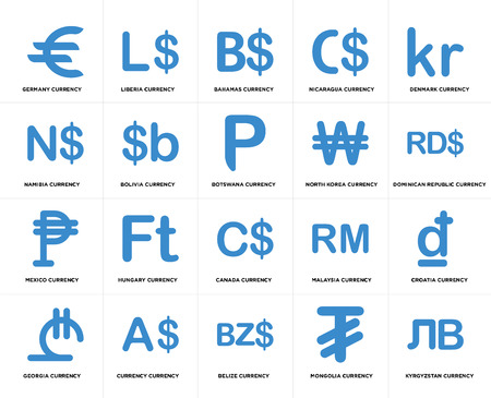 Set Of 20 simple editable icons such as Botswana currency, Mongolia Belize Currency North Korea web UI icon pack, pixel perfect