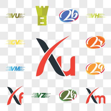 Set Of 13 transparent editable icons such as Xu, Xm, zh or hz, VU UV, Xf, Zq qZ, VM, Zr rZ, GV, web ui icon pack, transparency set Ilustração