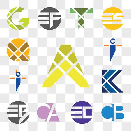 Set Of 13 transparent editable icons such as A Letter, CB BC, EO OE, CA AC, EB BE, K bi ib, ci ic, X web ui icon pack, transparency set Illusztráció