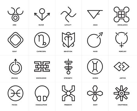 Set von 20 Symbolen wie Craftiness, Ruß, Freiheit, Koagulation, Fische, Exzellenz, Mars, Stärke, Uranus, Steinbock, Loyalität, bearbeitbares Icon-Paket für die Web-UI, Pixel Perfect