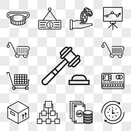 Set Of 13 transparent editable icons such as Justice, Rewind time, Change, Diagram, Graph, Cit card, Cart, web ui icon pack, transparency set