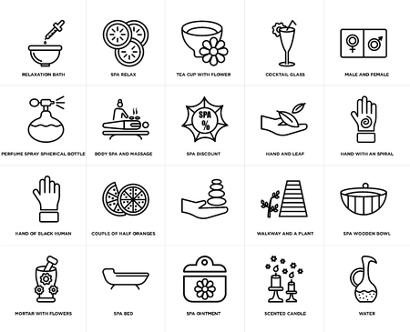 Set Of 20 simple editable icons such as Spa relax, scented candle, male and female, spa bed, Mortar with flowers, wooden bowl, body massage, web UI icon pack, pixel perfect