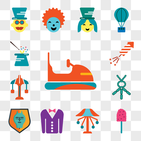 Set Of 13 transparent editable icons such as Bumper, Cotton candy, Carousel, Tuxedo, Quema del mal humor, Balloon modelling, Fireworks, Magician, web ui icon pack, transparency set