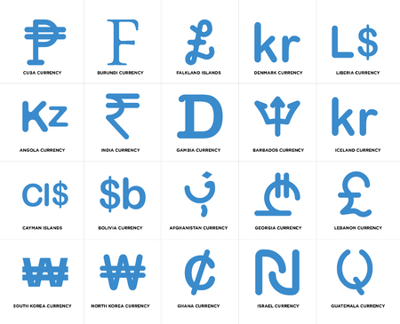 Set Of 20 simple editable icons such as Iceland currency, Ghana North Korea Angola Gambia web UI icon pack, pixel perfect