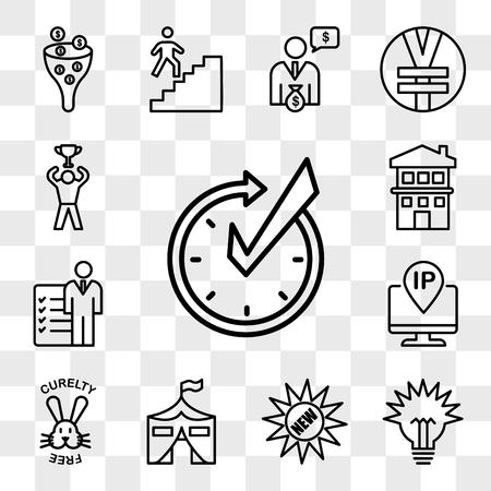 Set van 13 transparante pictogrammen zoals realtime, lumen, nieuw, militaire basis, dierproefvrij, ip-adres, rollen en verantwoordelijkheden, huis met twee verdiepingen, web ui bewerkbaar pictogrampakket, transparantieset