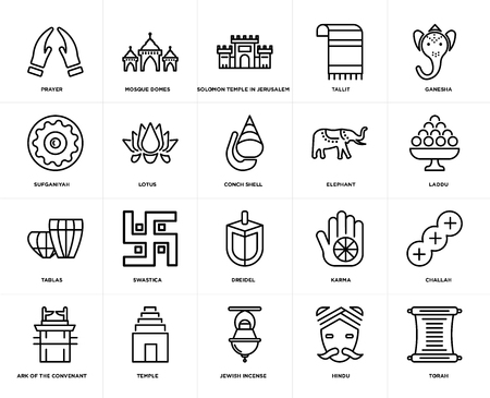 Set Of 20 simple editable icons such as Torah, Laddu, Ganesha, Tallit, Ark of the Convenant, Mosque Domes, Karma, Sufganiyah, web UI icon pack, pixel perfect Illustration