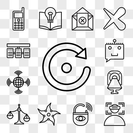 Set van 13 transparante bewerkbare pictogrammen zoals opnieuw proberen, onderdompeling, antidiefstal, werpster, ongebalanceerde schaal, ct, wan, chatbot, serverstack, web ui icon pack, transparantiereeks
