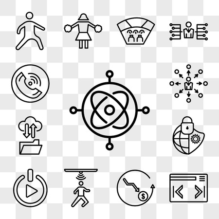 Set Of 13 transparent editable icons such as gyroscope, expand menu, cheaper, motion capture, get started, cybersecurity, ftp, self management, tel, web ui icon pack, transparency set Vector Illustratie