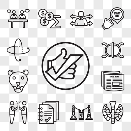 Set Of 13 transparent editable icons such as okey, thyroid, substation, handout, hi five, local news, lioness, perseverance, 360 tour, web ui icon pack, transparency set Illustration