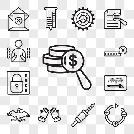 Set van 13 transparante bewerkbare pictogrammen zoals vermogen, feedback lus, 3,5 mm jack, dua, aalscholver, ksa vlag, dmca, onbevestigd, rillen, web ui icon pack, transparantie set Vector Illustratie