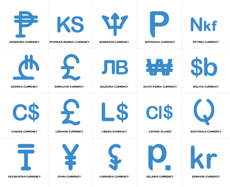 Set Of 20 simple editable icons such as Bolivia currency, Cambodia China Georgia Bulgaria web UI icon pack, pixel perfect