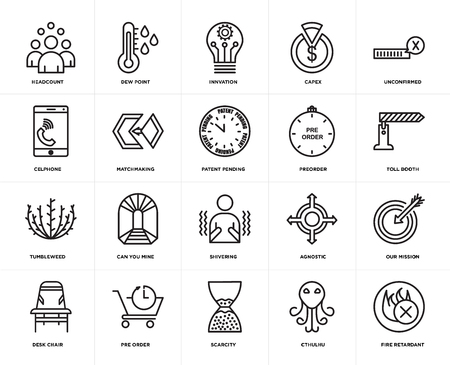 Set Of 20 simple editable icons such as fire retardant, toll booth, unconfirmed, capex, Desk chair, dew point, agnostic, celphone, web UI icon pack, pixel perfect 向量圖像